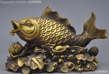 christmas chinese bronze brass animal fish Lotus Coins wealth yuanbao good luck statues halloween