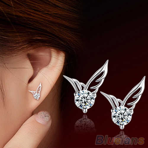 Fashion Womens Silver Plated Earring Jewelry Angel Wings Crystal Ear Stud Shiny Rhinestone Earrings 4DDF