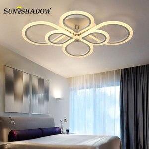 Image 4 - טבעות מודרני Led תקרת אור סלון חדר שינה מנורות שחור לבן אקריליק משטח רכוב נברשת תקרת מנורות