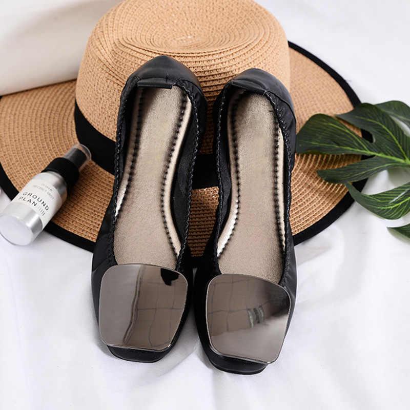 พลัสขนาดผู้หญิงรองเท้าระยิบระยับแบนรองเท้าเดียวรองเท้าผู้หญิงแฟลตสำนักงานสุภาพสตรีรองเท้านุ่มสบาย A067