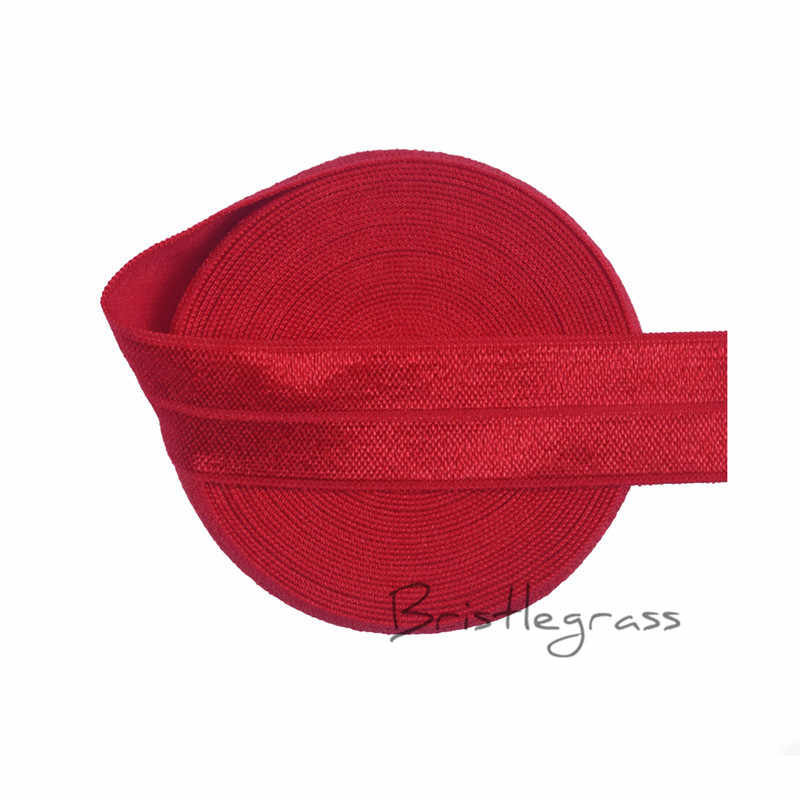 "BRISTLEGRASS 5 Yard 3/4 ""20 mét Hot Red FOE Fold Over Elastic Spandex Satin Ban Nhạc Trẻ Hairband Headband Ren Cắt DIY May Notion"