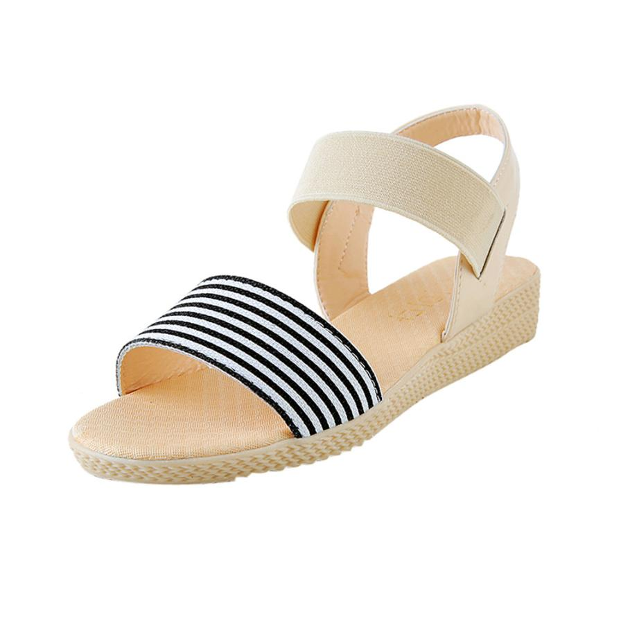 Fashion Women Flats Summer Hot Sale Sandals Female Stripe Flat Heel Anti Skidding Comfort Open Toe Beach Shoes Sandals Slippers 8