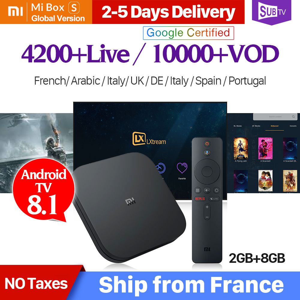 4K IPTV France Box Mi Box S 4K HDR Android 8 1 2G 8G WIFI Google Cast with  SUBTV IPTV Code 1 Year Full HD Arabic French IP TV