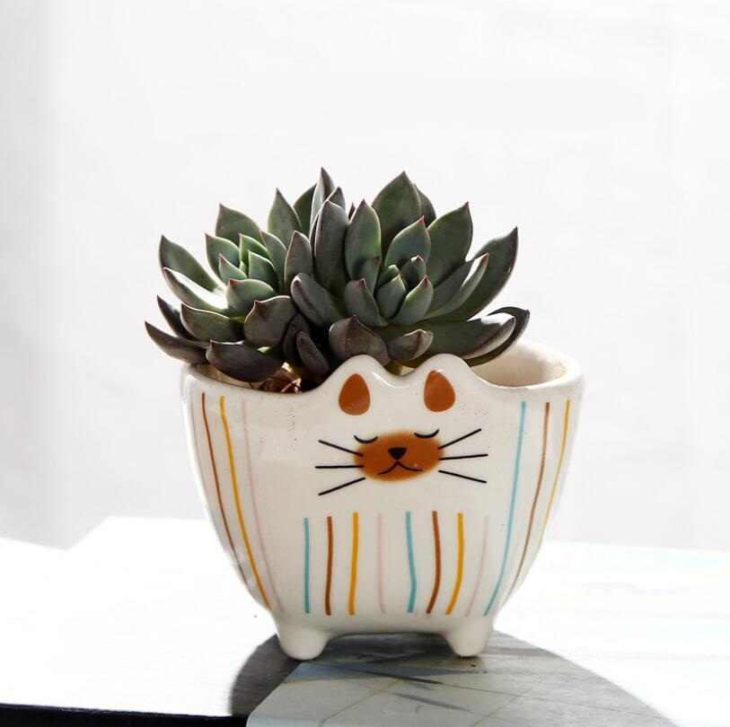 NOOLIM Del Gatto Del Fumetto Vaso di Fiori Retrò Permeabile Verde In Ceramica Vasi di Piante Soggiorno Ufficio Decorazione del Giardino