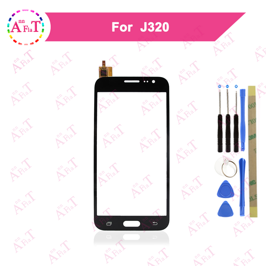 5.0 for Samsung Galaxy J3 2016 J320F J320A J320M J320P J320 Touch Screen Digitizer Sensor Outer Glass Lens Panel 3m glue Free