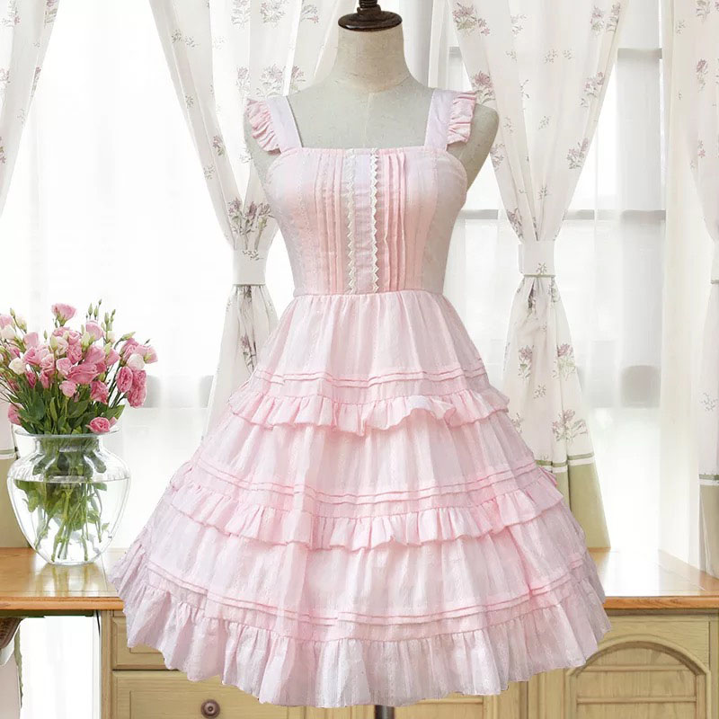 Women Mini Sweet Pink Dress Lolita Princess Costume Cotton Sleeveless Layer Low Back Square Collar A