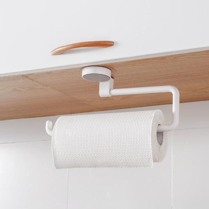 Roll Paper Rack Kitchen Cupboard Hanging Paper Towel Holder Rack Tissue Cling Film Storage Rack