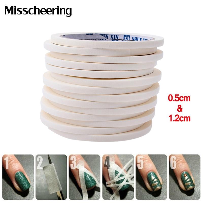 2 unids Nail Art Cinta Adhesiva 0.5 cm y 1.2 cm 17 m Diseño Creativo Pegatinas de Uñas, Pegamento Fuerte pegajoso para DIY Herramientas de Esmalte de Uñas de Gel