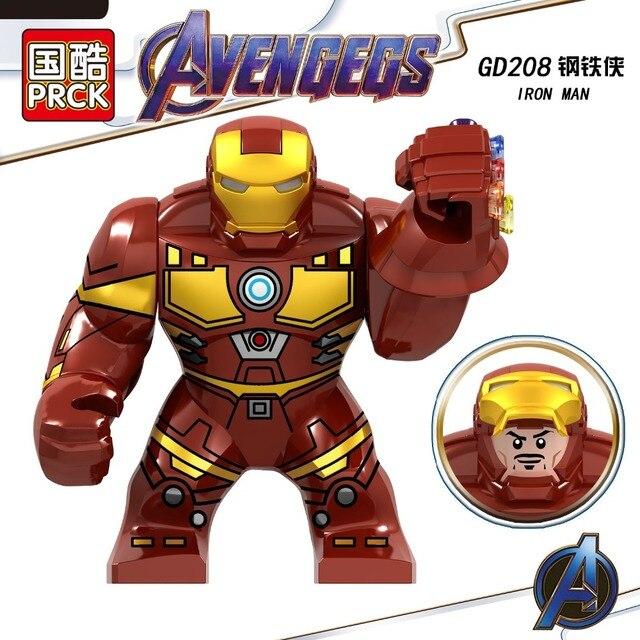Tamanho grande Legoing Endgame Avengers Marvel Homem de Ferro Com a Infinity Gauntlet Hulk Figuras de Super Heróis Blocos de Construção Tijolos Brinquedos