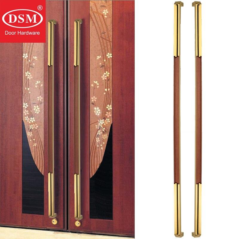 800mm Sapele ahşap + 304 paslanmaz çelik giriş kapısı çekme kolu ahşap/çerçeve/cam kapılar PA-229