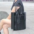 ACNC LEGEND 100% leather genuine leather hangbag , black tassel leather tote bag,women handbag Totes Tassel bag free shipping