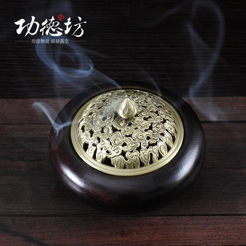Furnace black Zi mu of sandalwood incense coil furnace bronze covered wooden monolith incense packs email Aloes wood furnace