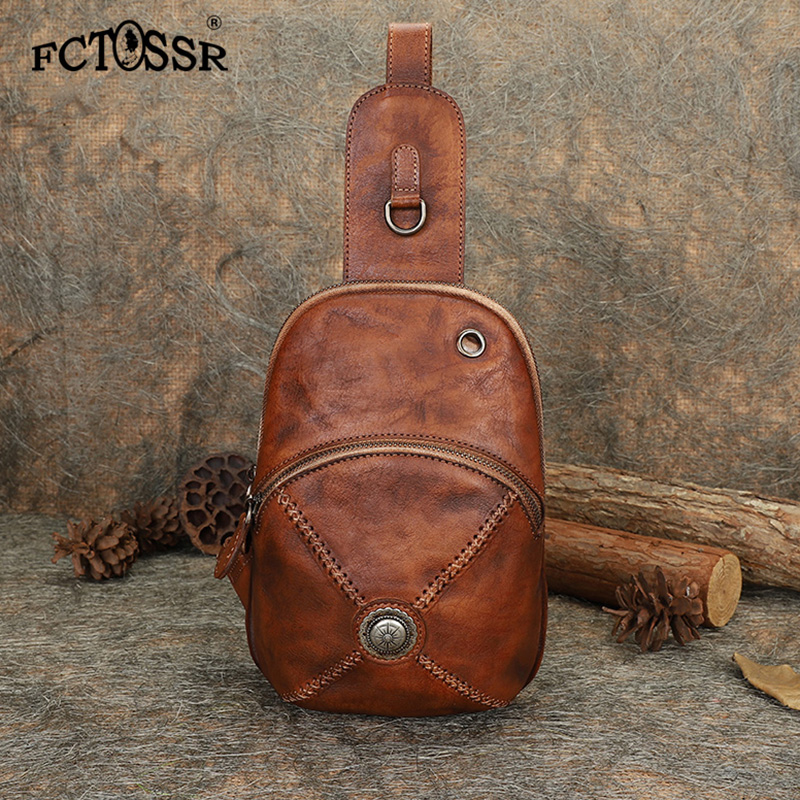 New Original Vintage Leather Chest Bag With Men And Women Personality Simple Cross body Bag Leather
