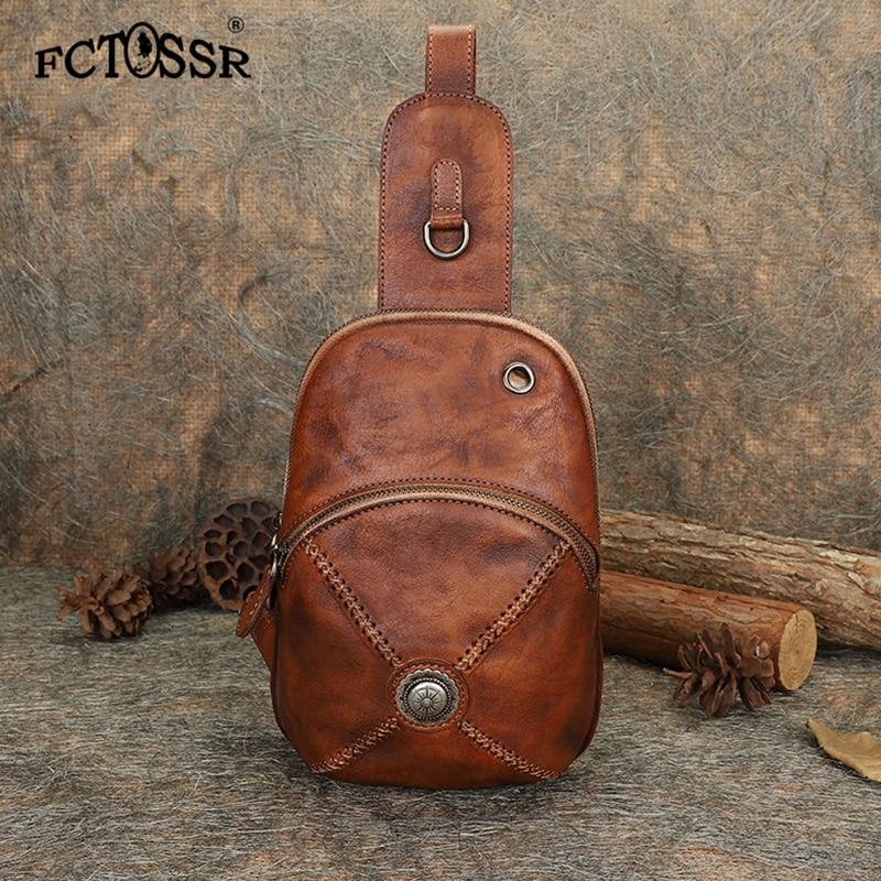 Nowy oryginalny w stylu Vintage skórzana torba w klatce piersiowej z mężczyzn i kobiet osobowość prosty krzyż ciała torba skórzana torebka handmade w Saszetki od Bagaże i torby na  Grupa 1