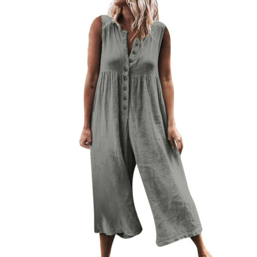 Boho Women Sleeveless Jumpsuit Romper Casual Clubwear High Waist Wide Leg Pants Trousers Outfits