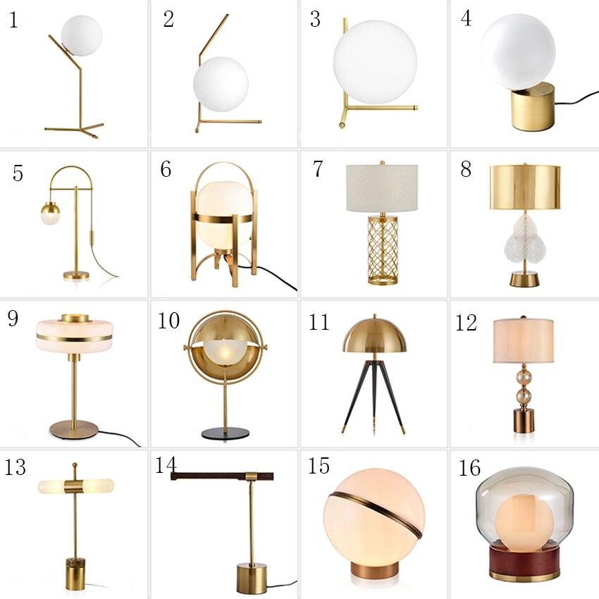 Post-modern LED Table Lamp Nordic Loft White Glass Ball Desk Light Golden Table Lights Indoor Bedroom Bedside Decor Desk Lamp