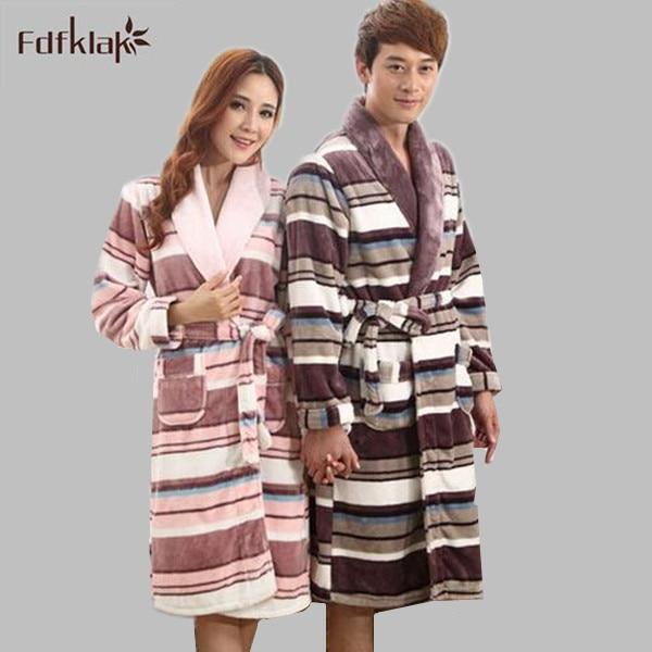 Cartoon print womens kimono robe flannel fleece bathrobe women long sleeve autumn winter home robe thick warm dressing gown Q895