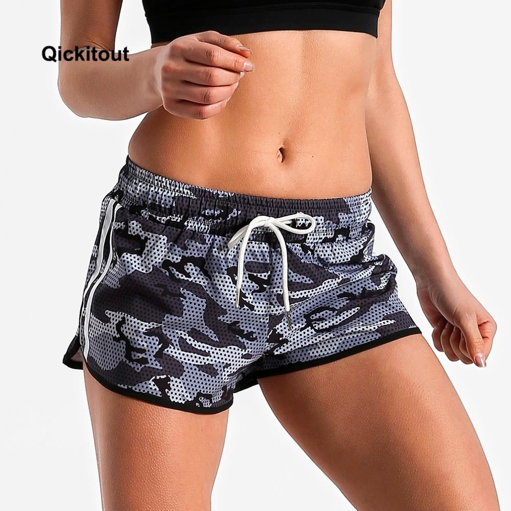 Qickitout 2018 New Fashion Women Grey Camo   Shorts   Fitness Cross Plus Size Ladies Fitness Elastic waist causal   Shorts   PantsXS-XL