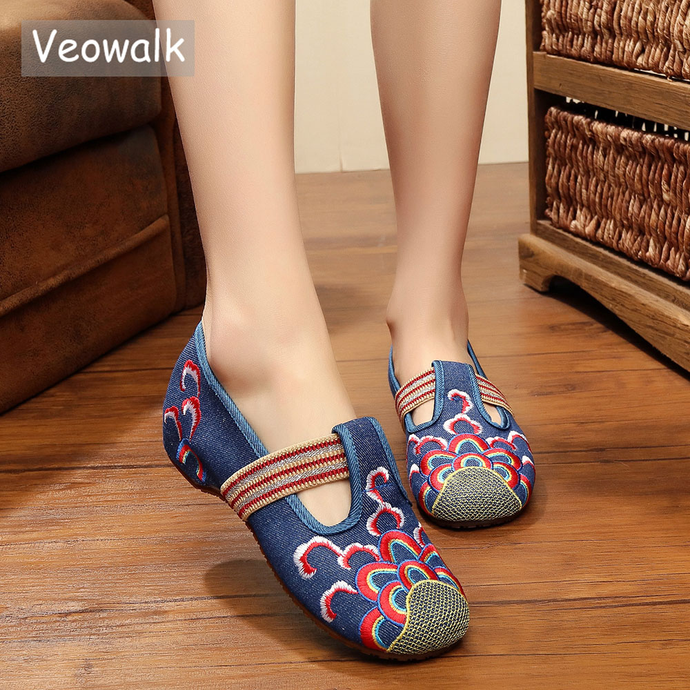 Veowalk Spring/Autumn Women Vintage Old Peking Casual Flats Ladies Billow Embroidery Soft Sole Breathable Cloth Dancing Shoes veowalk handmade fashion women ballerinas dancing shoes chinese flower embroidery soft casual shoes cloth walking flats