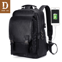 DIDE New USB Charging Backpack Vintage PU Leather laptop backpack men Mochila Brand Travel backpack School bag waterproof цена 2017