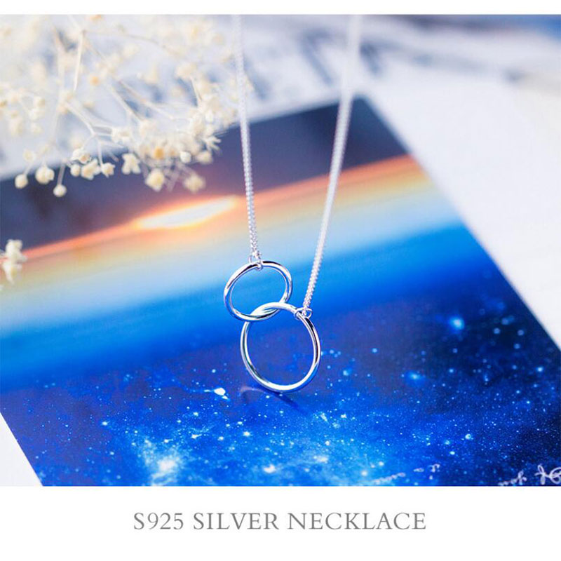 Silver Necklace with Double Pendant Jewelry Necklaces Women Jewelry