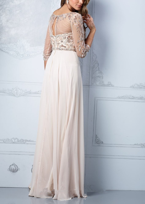 Designer Khaki Evening Dresses 3/4 Sheer Sleeves Chiffon Long Formal ...