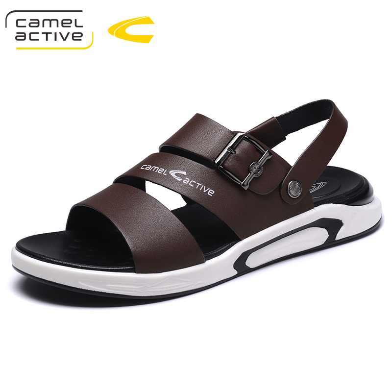 Camel Active 2018 New Summer Men Beach Sandals Handmade Genuine Leather Sandals Shoes for Men Leisure Durable Non-slip Shoes