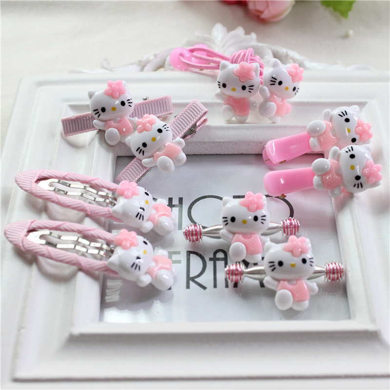 Girl Clip Barrette Birthday Christmas Gift Hair Rope Kitty Candy Cartoon Elastic Hair Bands Children Hairpin Jewelry Accessories 8 pieces children hair clip headwear cartoon headband korea girl iron head band women child hairpin elastic accessories haar pin