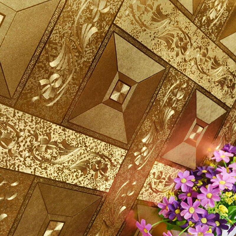 Gold Foil Wallpaper Luxury Classic 3D Stereoscopic Golden