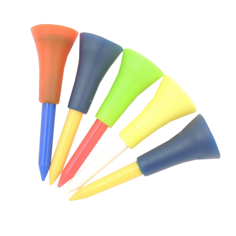 50pcs Multi Color 73mm/54mm Plastic New Golf Tees Rubber TEEs