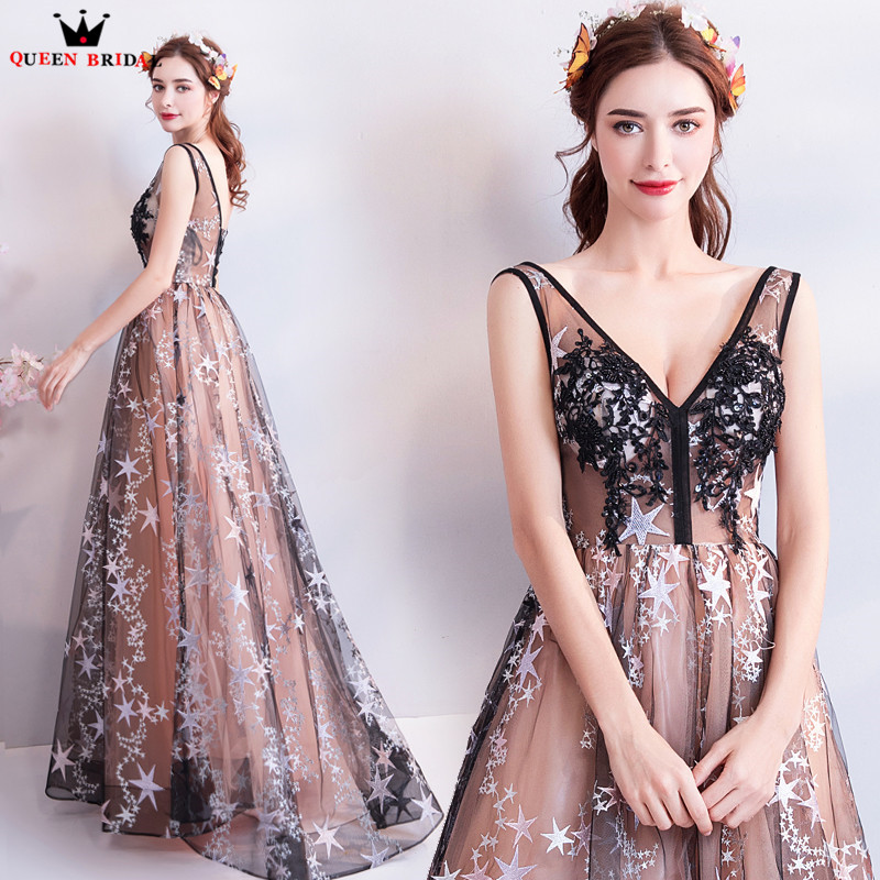 A lin V neck Lace Flowers Beading Sexy Long Formal Evening Dresses 2018 New Prom Party