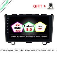 Funrover 2 din Android 8.0 Car DVD GPS dla Honda CRV CR-V 2006 2007 2008 2009 2010 2011 wifi Video radio 1024*600 9 inch 2G + 32ROM