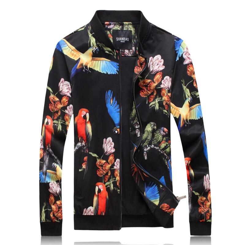 J18069 papagaio Colorido padrão de impressão bonito homens jaqueta moda Outono 2019 qualidade de lavagem e desgaste dos homens jaquetas e casacos M-5XL