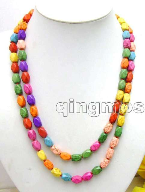 "SALE Long 46"" Multicolor 8mm column Faceted Turquoise beads necklace-nec5683 Wholesale/retail Free shipping"