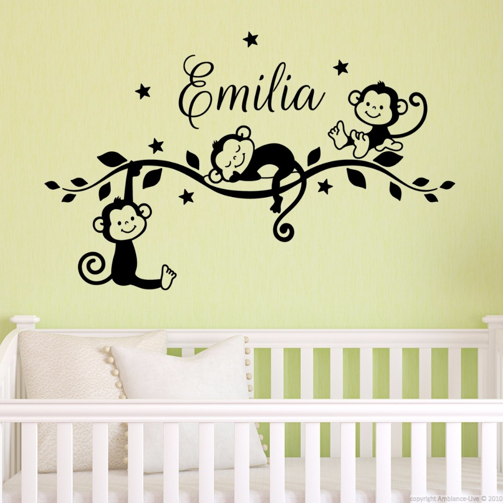 Customizable Cute Baby Monkeys Vinyl Mural Wall Decals Stickers Home ...