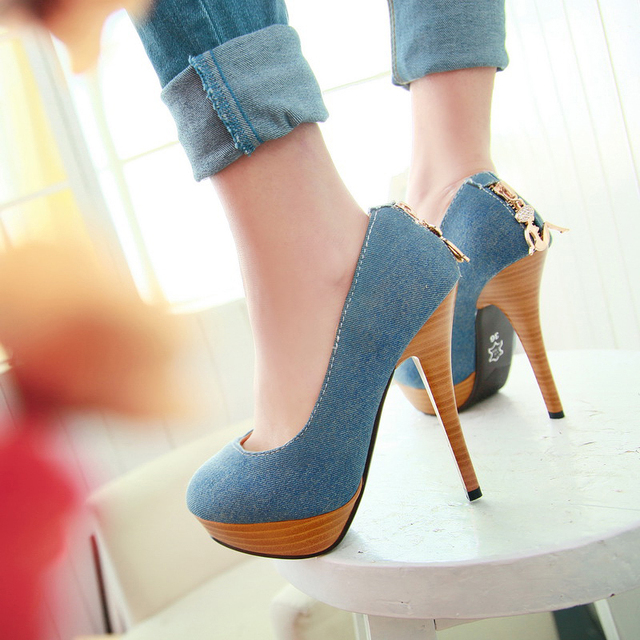 2014 Autumn new Fashion women's shoes Stylish blue jean High Heels ...