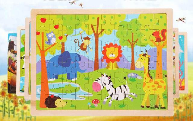Hot Selling 60 Pieces Wooden Puzzles Kids Educational Toys DIY Jigsaw Puzzle For Children Adults Baby ChildrensBuilding
