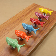 1pc Colorful Fish Knobs Ceramic Drawer Knob Pulls Kids Dresser Handle Pull Kitchen Cabinet Door Child  Blue Green