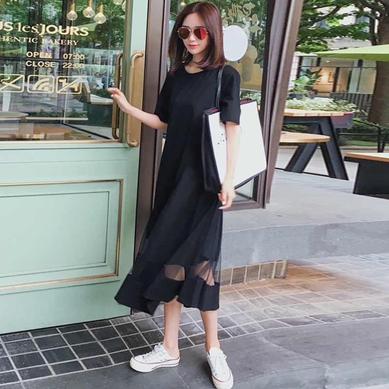 Galcaur malha retalhos vestido feminino manga curta irregular drapeado casual midi vestidos 2019 verão moda elegante roupas