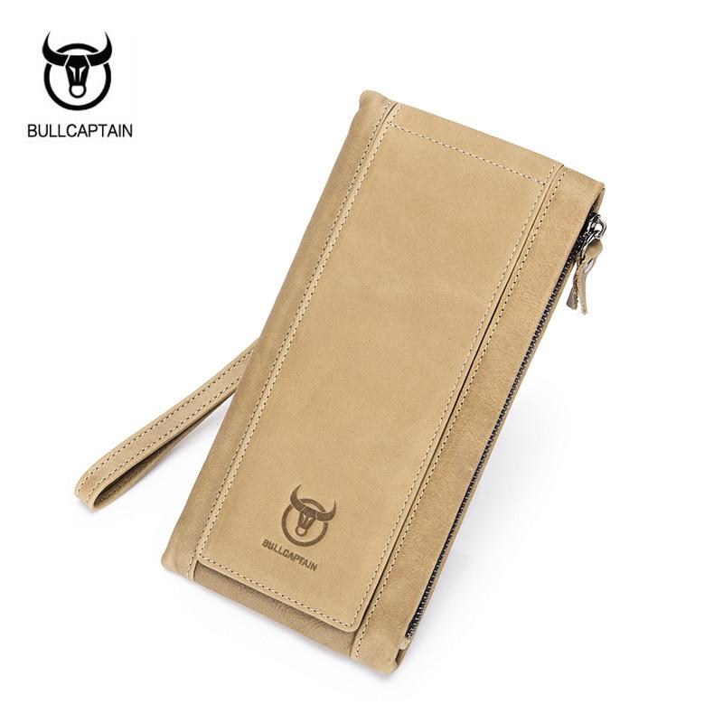 BULLCAPTAIN Unique Design Men Wallets Fashion Genuine Leather Long Wallet Phone Bag Man Clutch Purse Credit Card Holders