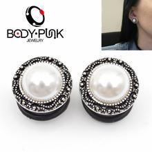 Тела панк 2 шт поддельные pearl ear plug плоти туннеля для женщин