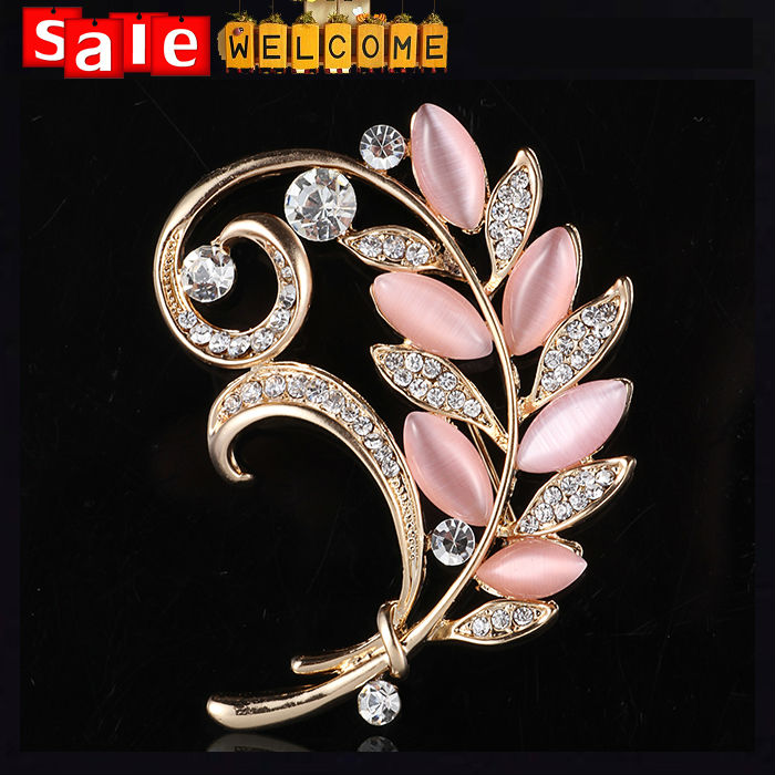Big Long Pink Opal Stone Brooch Cat Eye Flower Crystal Wedding Brooch Wholesale, Golden Joyeria Donna Shawl Vestido Pin Jewelry