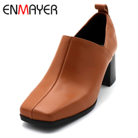 ENMAYER High Heel Shoes Woman Square Heel Girls Casual Shoes Square Toe Shallow Slip on Pumps Platform Solid Lades Shoes