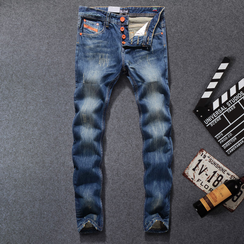 2017 High Quality Dsel Brand Men Jeans Fashion Designer Distressed Ripped Jeans Men Slim Straight Fit Jeans Homme,100% Cotton! 2017 new original high quality dsel brand men jeans straight fit distressed ripped jeans for men dsel brand jeans home 604 a