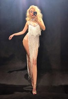 Women Singer Bar Costume Sexy Perspective Mesh Long Tassels Bodysuit Sparkly Crystal Jumpsuit Nightclub Dancer Stage Outfit DJ