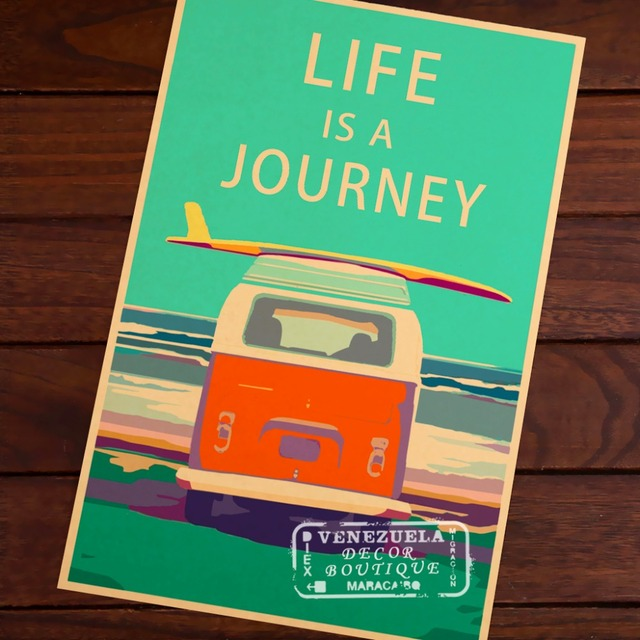 Life is a journey Old Bus Travel Landscape Vintage Retro Poster