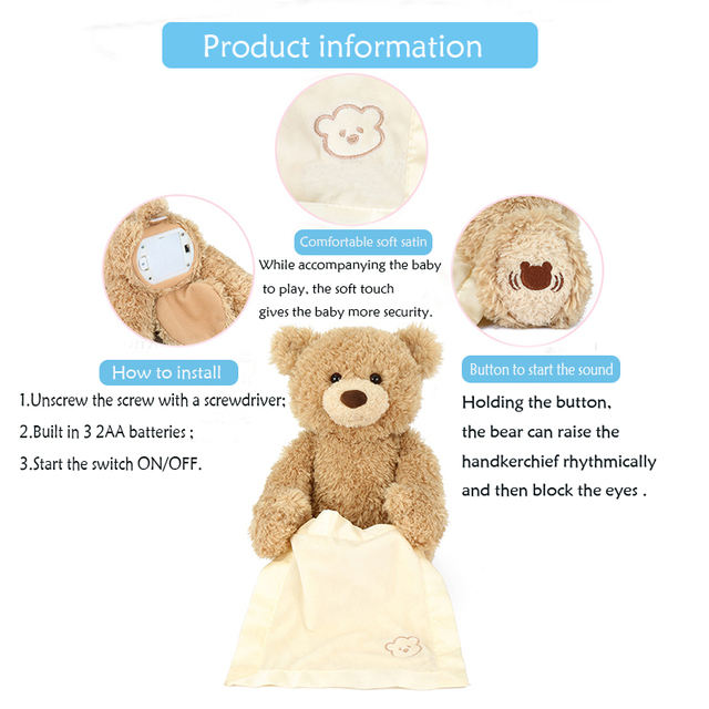 Stuffed Animals Plush Doll Peek A Boo Elephant & Teddy Bear Toys Play Music Hide and Seek Educational Electric Toy Gift For Kids