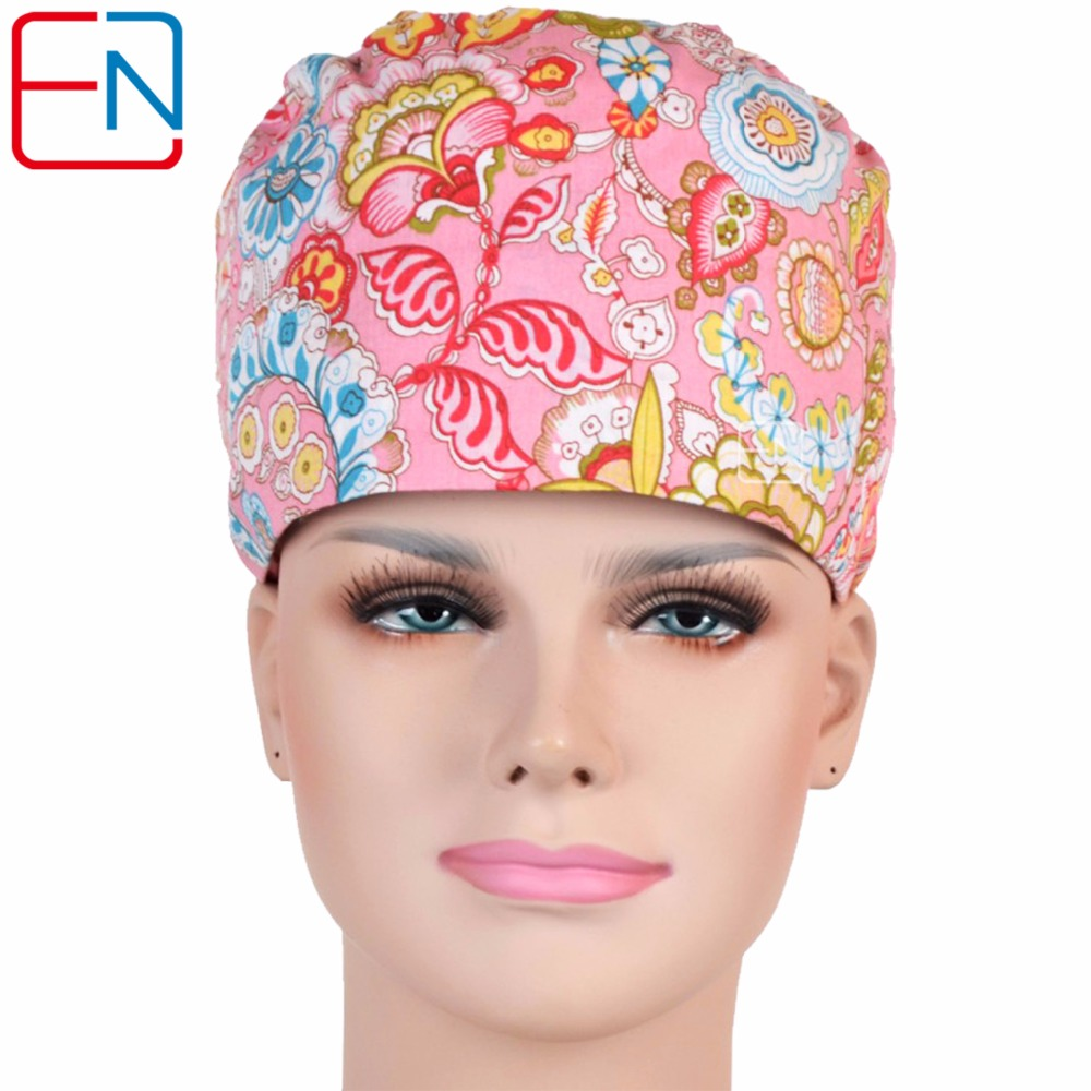 Hennar Medical Scrub Caps 2018 Newset Doctor Nursing Scrub Caps With Sweatband 100% Cotton Medical Caps Womens Surgical Workwear