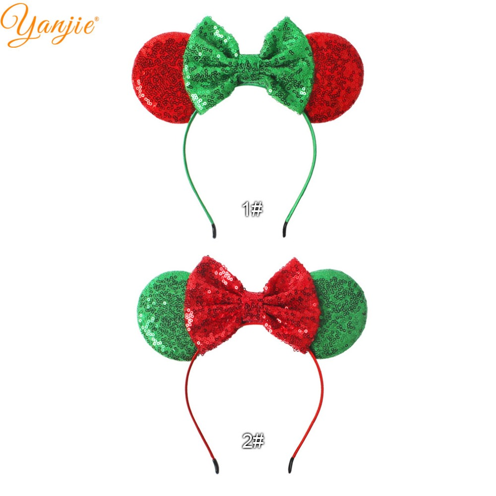 trendy redgreen 2018 christmas headband for girls kids sequin bow minnie ears hair band glitter festival party hair accessories in hair accessories from