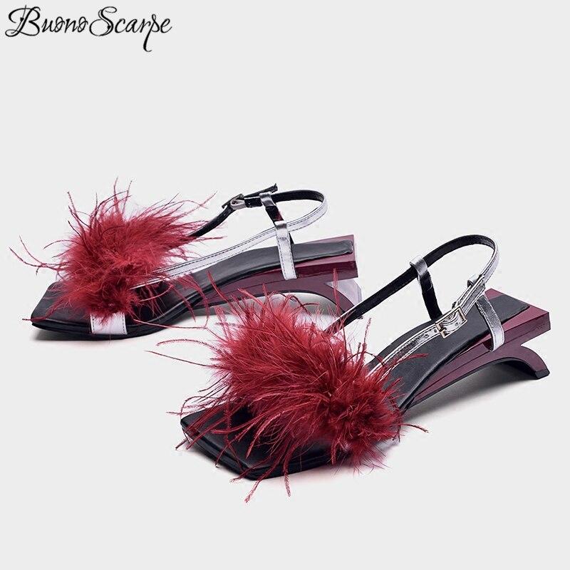 BuonoScarpe Strange Low Kitten Heels Fur Sandals Women Patchwork Feather Buckle Shoes Sandals Summer Sexy Tassel